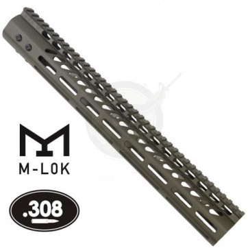 "15"" ULTRA LIGHT M-LOK FREE FLOAT HANDGUARD .308 OD GREEN"