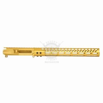 """AR15 UPPER & 15"""" ULTRALIGHT M-LOK HANDGUARD ANODIZED GOLD"""