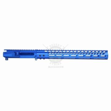 "AR15 UPPER & 15"" ULTRALIGHT M-LOK HANDGUARD ANODIZED BLUE"