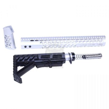 """AR-15 """"HONEYCOMB"""" SERIES COMPLETE FURNITURE SET GEN 2 ANODIZED CLEAR"""