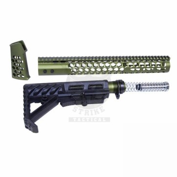 """AR-15 """"HONEYCOMB"""" SERIES COMPLETE FURNITURE SET GEN 2 ANODIZED GREEN"""