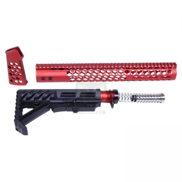 """AR-15 """"HONEYCOMB"""" SERIES COMPLETE FURNITURE SET GEN 2 ANODIZED RED"""